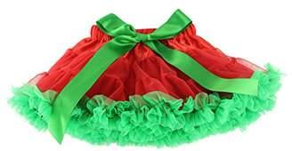Wennikids Xmas Baby Kids Girls Dancewear Chiffon Tutu Pettiskirt Princess Skirt XX-Large Red Green