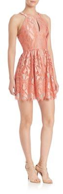 BCBGMAXAZRIA Urban Jungle Megyn Halter Lace Dress $398 thestylecure.com