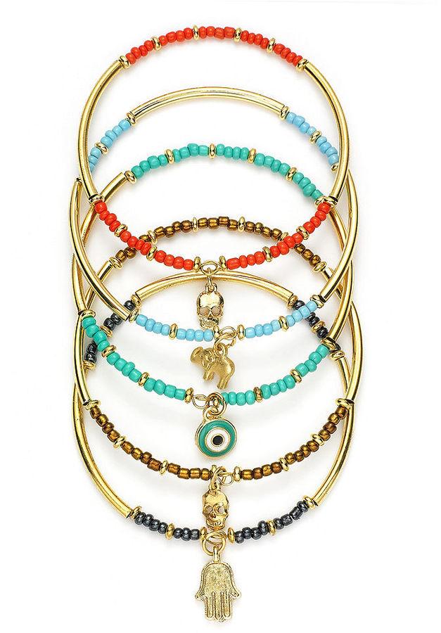 Bar III Bracelet Set, Gold-Tone Beaded Charm Bangle Bracelets