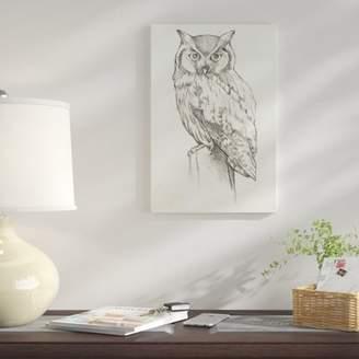 East Urban Home 'Owl Portrait II' Drawing Print on Canvas