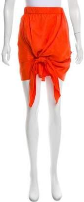 Acne Studios Linen & Silk-Blend Knot-Accented Skirt