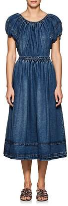 Co Women's Classic Cotton Denim Puff-Sleeve Dress