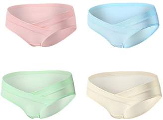 Monvecle Women's 4 Pack V-Shape Low Rise Waistband Under the Bump Cotton Maternity Panties S