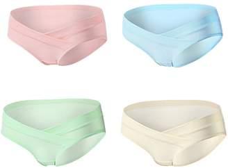 Monvecle Women's 4 Pack V-Shape Low Rise Waistband Under the Bump Cotton Maternity Panties L