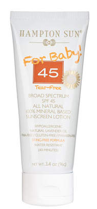 Hampton Sun For Baby! Broad Spectrum SPF 45 All Natural Sunscreen Lotion, 3.4oz