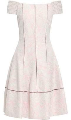 893e2add4d5 Talbot Runhof Off-the-shoulder Sequin-embellished Floral-jacquard Dress