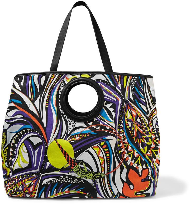 Emilio PucciEmilio Pucci Leather-trimmed printed canvas shoulder bag