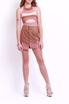 Cotton Candy Suede Bycolor Skirt $56 thestylecure.com