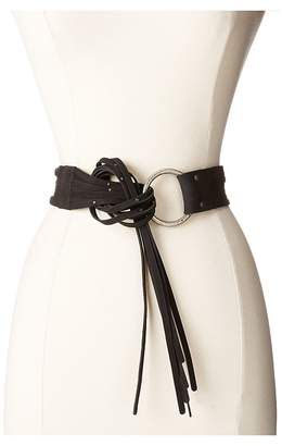 Frye 45mm Pebble Leather Fringe Belt with Ring Buckle Women's Belts