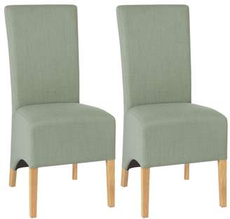 Debenhams Bentley Interwood Pair Of Duck Egg Blue 'Nina' Wing Back Upholstered Dining Chairs With Light Oak Legs