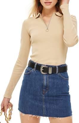 Topshop Front Zip Polo Shirt