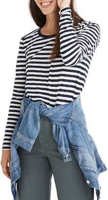 Madewell Whisper Cotton Stripe Long Sleeve Crewneck Tee