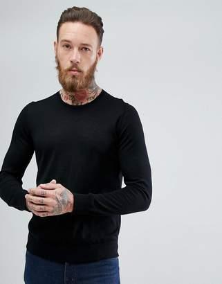 HUGO Crew Neck Merino Sweater Black