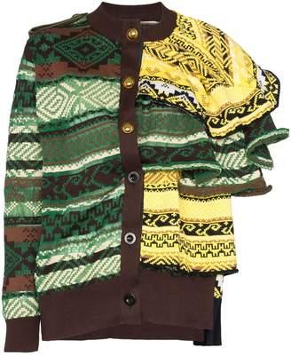Sacai layered knit cardigan