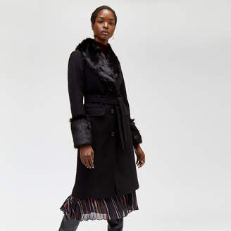 Warehouse Faux Fur Detail Belted Coat