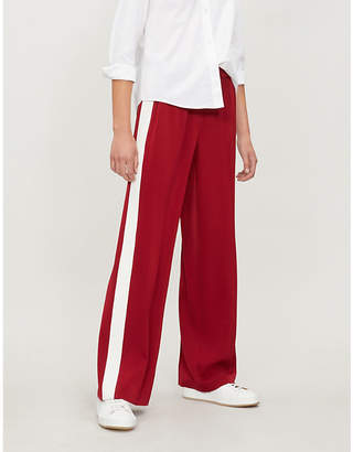 Elizabeth and James Kelly side-stripe high-rise crepe wide-leg jogging bottoms