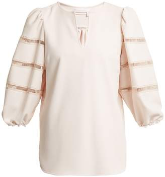 See by Chloe Lace-trimmed crepe top