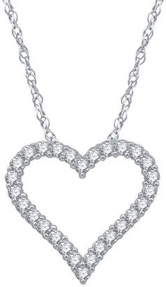 EVER STAR Ever Star Ever Star Womens 1/2 CT. T.W. Lab Grown Diamond 10K White Gold Heart Pendant Necklace