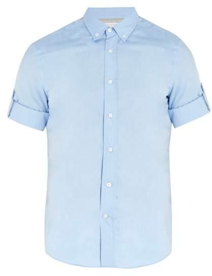 Point-collar short-sleeved cotton shirt