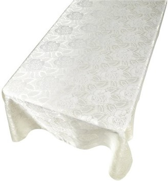 """Carnation Home Fashions Rose Damask"""" 52""""x70"""" Fabric Tablecloth in Ivory"""