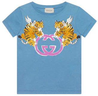 c832ca04e132 Gucci Double Tiger GG Short-Sleeve T-Shirt, Size 4-10