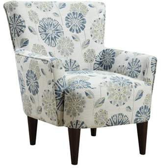 Emerald Home Flower Power Cascade Teal Accent Chair with Fabric Upholstery, Flared Arms, And Welt Trim