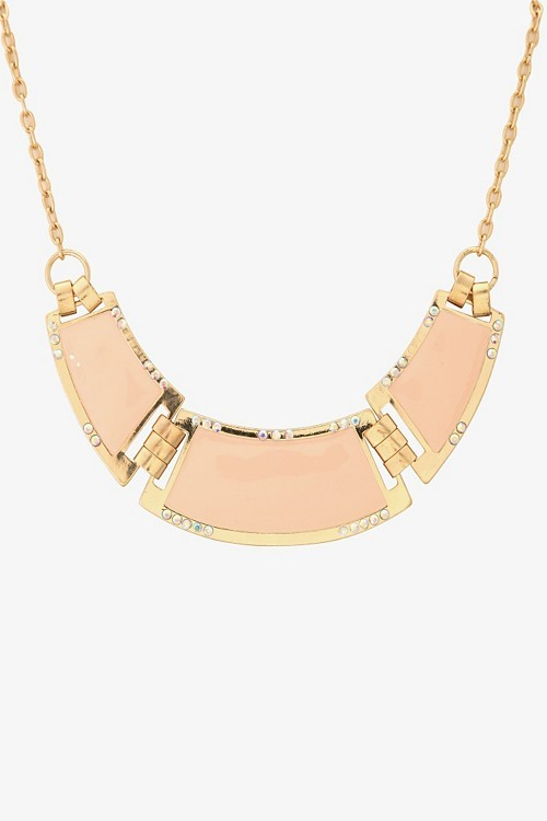 Gold And Coral Rhinestone Short Collar Necklace