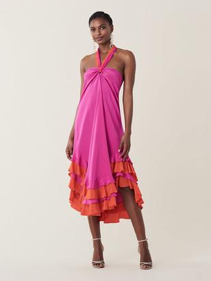 Diane von Furstenberg Sage Silk Crepe De Chine Halter Dress