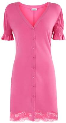 La Perla La Perla | Lapis Lace Bubblegum Pink Modal Night Dress With Leavers Lace | Xxs | Pink
