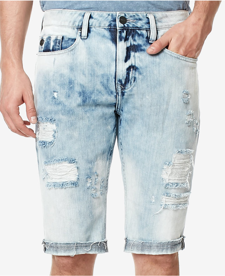 Buffalo David Bitton Men's PARKER-X Distressed Cotton Denim Shorts