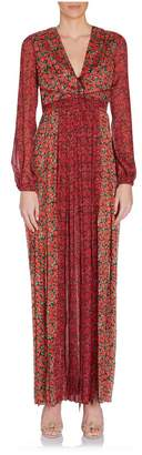Raquel Diniz Lili Long Sleeve Deep V Floral Maxi Dress In Red