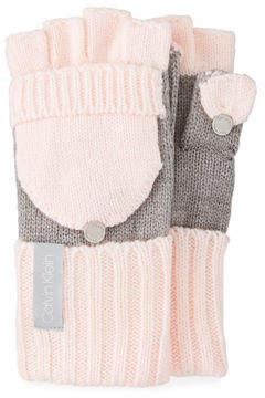 Calvin Klein Colorblock Flip-Top Knit Gloves