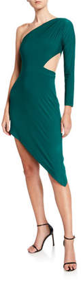 SHO One-Shoulder Asymmetric Jersey Cutout Dress