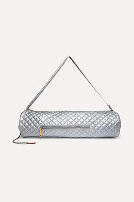 MZ Wallace Leather-trimmed Metallic Quilted Shell Yoga Mat Bag - Silver