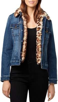 Sanctuary Kylie Leopard Faux-Fur Denim Jacket