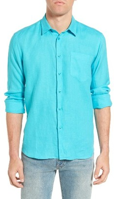 Men's Vilebrequin Caroubie Regular Fit Linen Sport Shirt $230 thestylecure.com