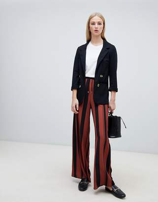 New Look stripe drawstring trousers in brown pattern