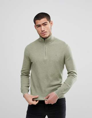 Polo Ralph Lauren Polo Ralph Textured Pima Cotton Half Zip Knit Jumper Player Embroidery in Green Marl