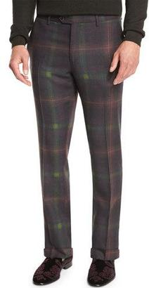 Etro Plaid Flat-Front Trousers, Green/Burgundy $635 thestylecure.com