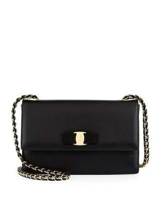Salvatore Ferragamo Ginny Leather Bow Shoulder Bag, Nero $1,150 thestylecure.com