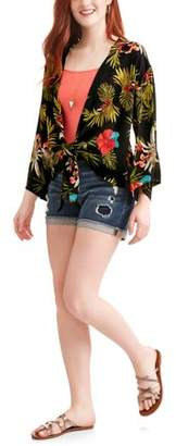 Paper Tee Juniors' Tropical floral Printed Satin Tie Front Kimono