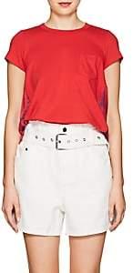 Sacai Women's Jersey & Satin T-Shirt - Red, Navy