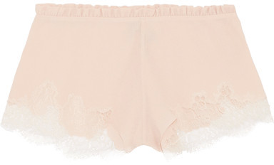 Carine Gilson Carine Gilson - Lace And Ruffle-trimmed Stretch-silk Crepe Briefs - Blush