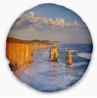 "Designart Twelve Apostles on Ocean Road Seashore Throw Pillow - 20"" Round"