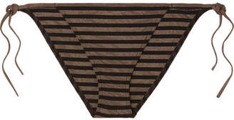 Eres Backgammon Striped Stretch-lurex Bikini Briefs - Black