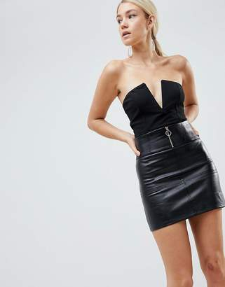 Parallel Lines mini skirt in faux leather