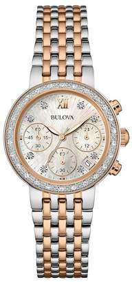 Bulova Women's Diamond Chrono Tone-Tone Bracelet Watch, 30mm - 0.13 ctw