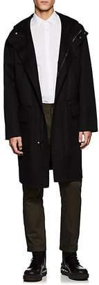 Valentino MEN'S WOOL-CASHMERE MELTON HOODED DUFFLE COAT - BLACK SIZE 56 EU