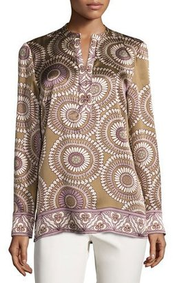 Lafayette 148 New York Dunham Long-Sleeve Medallion-Print Silk Blouse, Chai Multi $498 thestylecure.com