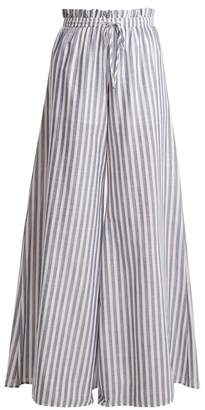 Caroline Constas Striped Paperbag Waist Trousers - Womens - Blue White